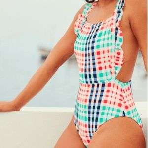 Aerie gingham onepiece with ruffle strap swim suit
